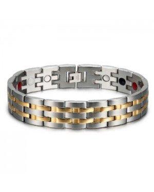 Magnetische mannen armband Mendes Edelstaal Energie Zilverkleurig Goudkleurig