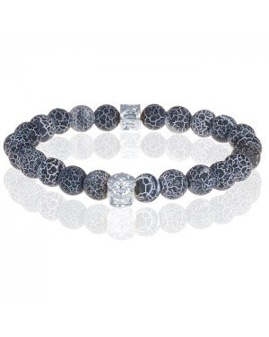 Memphis armband Frosted Agaat Silver Skull