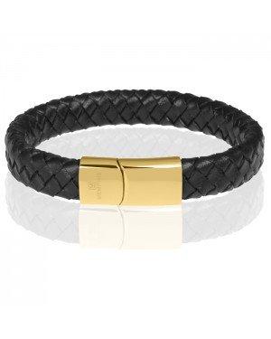 Memphis gevlochten leren armband Zwart Goud
