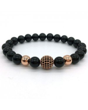 Memphis armband Glans Agaat Zirconia Ball Rose