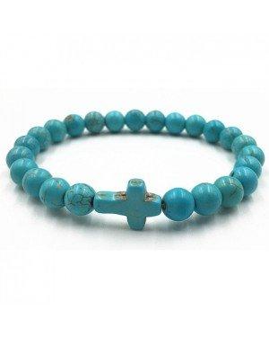 Memphis Heren Kralen Armband met Kruis Turquoise