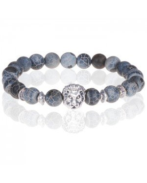 Memphis kralen armband heren Frosted Agaat Lion