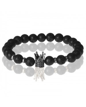 Memphis kralen armband Lavasteen Crown Black