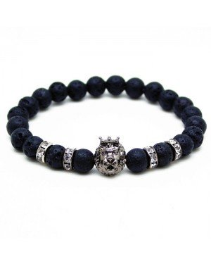 Memphis kralen armband Lavasteen Lionhead Grey