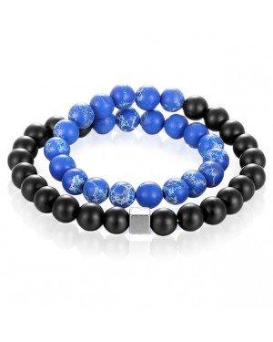 Memphis Kralen Wikkelarmband Onyx Natuursteen Blauw Zwart