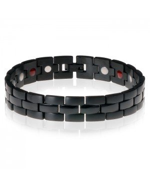 Mendes heren armband Edelstaal Magneet Black Night