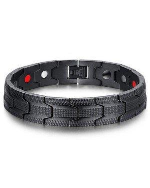 Mendes heren armband Edelstaal Magneten Grid Black