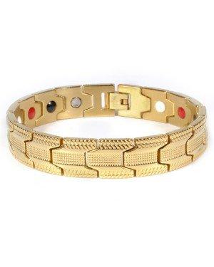Mendes heren armband Edelstaal Magneten Grid Gold