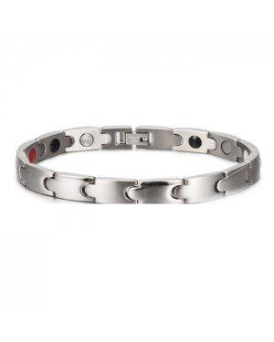 Mendes heren armband Magneten Edelstaal Zilverkleurig