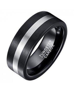 Mendes heren ring geborsteld Wolfraamcarbide Zwart Zilverkleurig