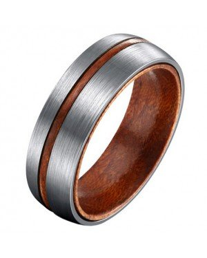 Mendes heren ring Titanium Wood Groove 8mm