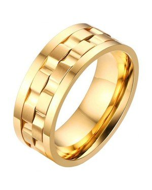 Mendes Jewelry heren ring Verguld Edelstaal Tandwiel