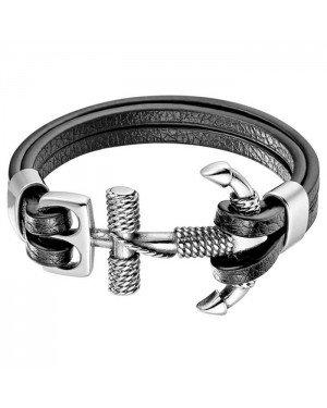 Mendes Zeemans armband leer Edelstaal Anker Zilverkleurig Zwart