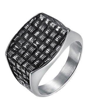 Mendes zegelring heren zilverkleurig Weave
