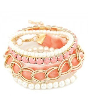 Mode armband Pearl Multilayer Goud met Zalm