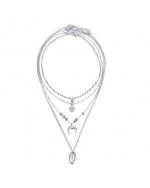 Multilayer dames ketting Crystal Moon Shell Zilverkleurig