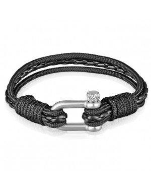 Nauitische Armband Heren Paracord Gevlochten Leer Zwart