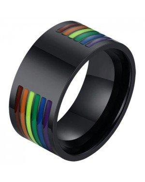 Regenboog heren ring Edelstaal Zwart