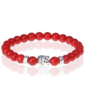 Rode Agaat kralen armband Buddha