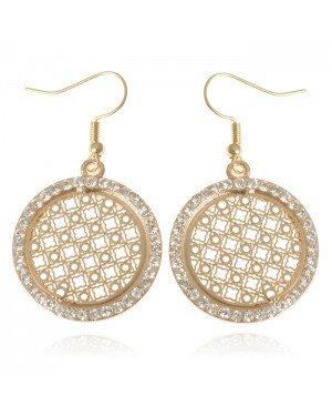 Ronde dames oorbellen goudkleurig Mandala