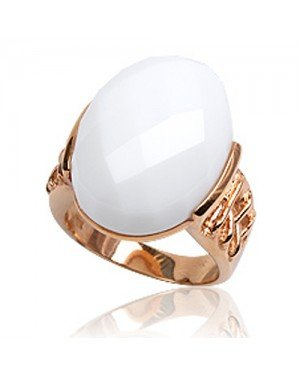 Roségoud vergulde cocktail ring 925 zilver wit Agaat