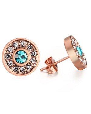 Rosegoud vergulde oorknoppen Aquamarine Diamond
