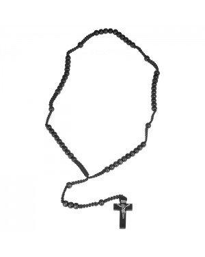 Rozenkrans zwarte houten kralen met kruis