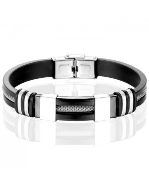 Siliconen armband RVS Mesh Zwart Zilverkleurig