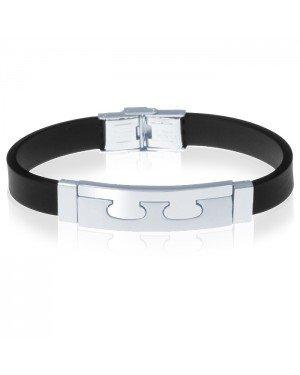 Siliconen heren armband RVS Element Zwart Zilver