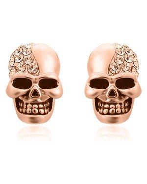 Skull Stud oorbellen Edelstaal Kristal Rosegoud