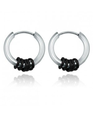 Stalen creolen Flexible Rings Silver Black