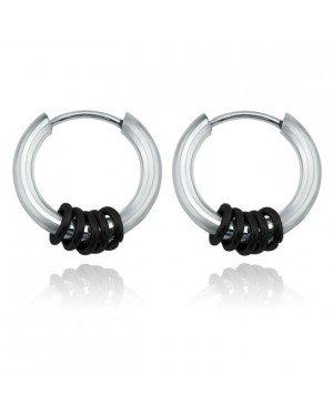 Stalen creolen Flexible Rings Silver Black