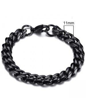 Stalen heren armband LGT JWLS Gourmet schakel Zwart 11mm