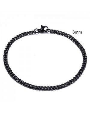 Stalen heren armband LGT JWLS Gourmet schakel Zwart 3mm