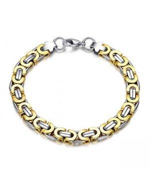 Stalen heren armband Mendes Koningsschakel Goudkleurig- 23cm