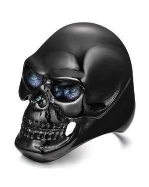 Stalen herenring Skull Black