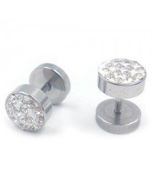 Stalen Stud oorbellen met kristallen 8mm
