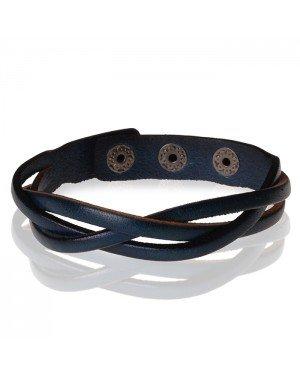 Stone Valley gevlochten leren armband Heren Donkerblauw