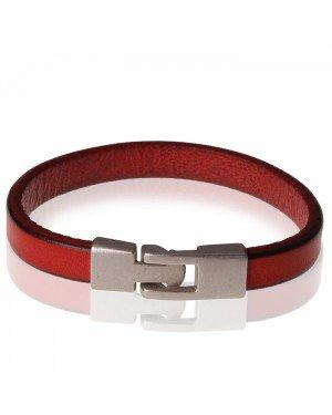 Stone Valley leren armband Heren Roodbruin - 20.5cm
