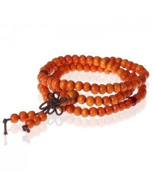 Tibetaanse Mala gebedsarmband Houten kralen Oranjebruin