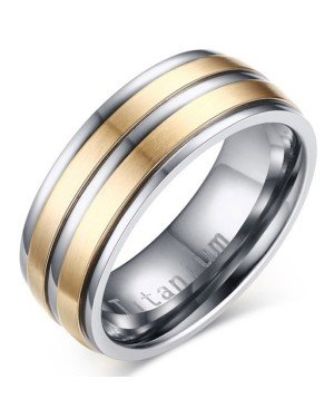 Titanium heren ring Goud Zilver 8mm