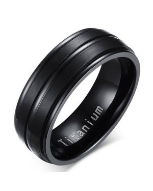 Titanium heren ring Zwart 8mm
