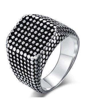Titanium Zegelring heren Zilverkleurig Zwart