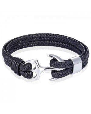 Tom Jaxon Heren armband Anker gevlochten Leer Zilverkleurig Zwart