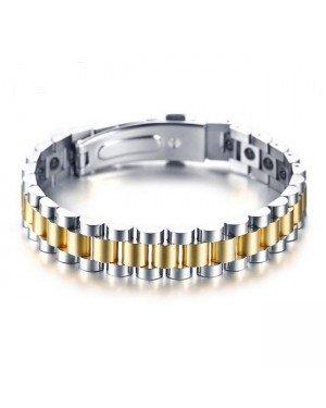Tom Jaxon Heren armband Edelstaal Hematiet Energie Goudkleurig - 21cm