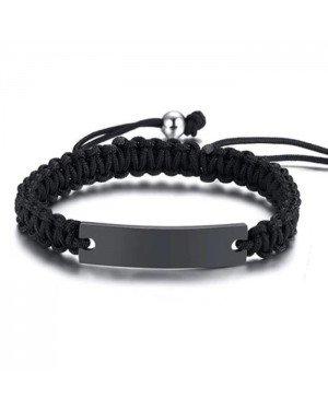 Tom Jaxon Heren armband Gevlochten Touw Graveerplaat Zwart Verstelbaar