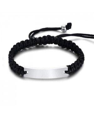 Tom Jaxon Heren armband Gevlochten Touw Graveerplaat Zwart Zilverkleurig Verstelbaar