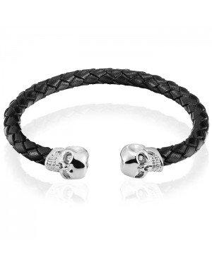 Tom Jaxon heren armband Leer Doodshoofd Zwart Zilver