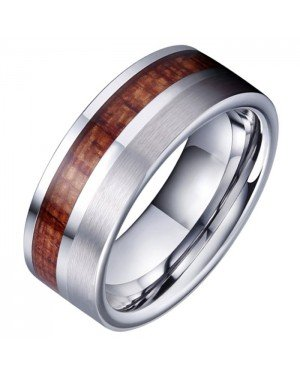 Tom Jaxon heren ring Wolfraam Zilverkleurig Palissander Inlay
