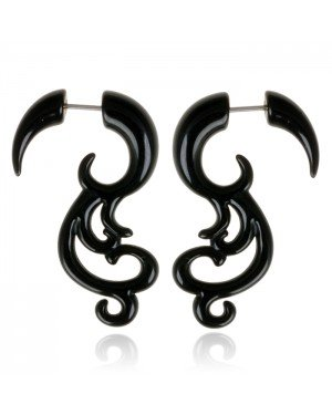 Tribal bone oorbellen Black Waves